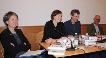 Das Historische Quartett freut sich auf zahlreiche BesucherInnen am 30.November 2017: Anke te Heesen, Annette Schuhmann, Jan-Holger Kirsch und Martin Bauer