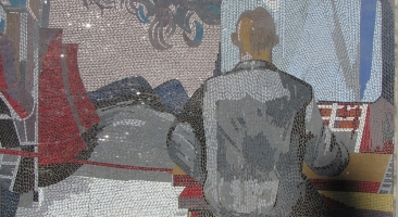 Mosaik von Fritz Eisel am früheren Rechenzentrum Potsdam (Foto: HHH)