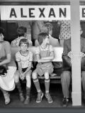 S-Bahnsteig Alexanderplatz, Berlin-Mitte, DDR 1980, Foto: Rudi Meisel