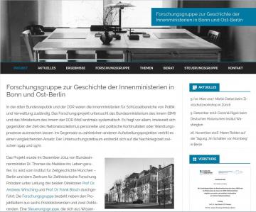Startseite der Website des Projekts