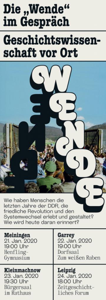 """Plakat zur """"Dialogreise durch Ostdeutschland"""" des Projektteams, Grafik: Clara Bahlsen."""
