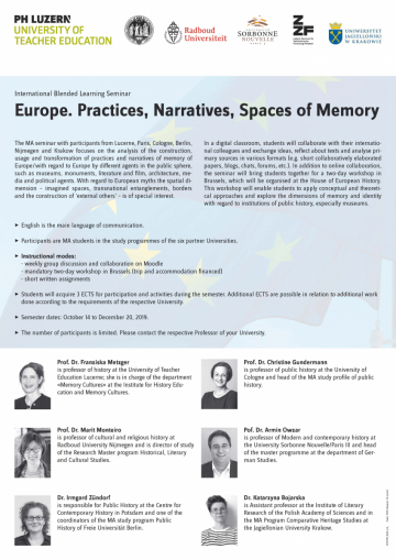 International Blended Learning Seminar, October 14 to December 20 2019 | Europe. Practices, Narratives, Spaces of Memory
