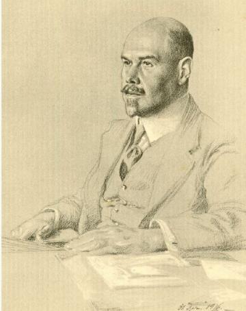 Bildnachweis: Walther Rathenau – Zeichnung von Arnold Busch 1916, Quelle: Hermann Schmitz, Schloss Freienwalde, Berlin 1927, S. 44 a